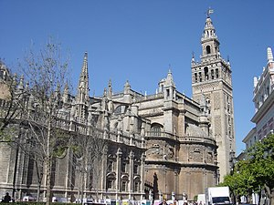 View of the Cathedral (left) and the Archivo de Indias (right)