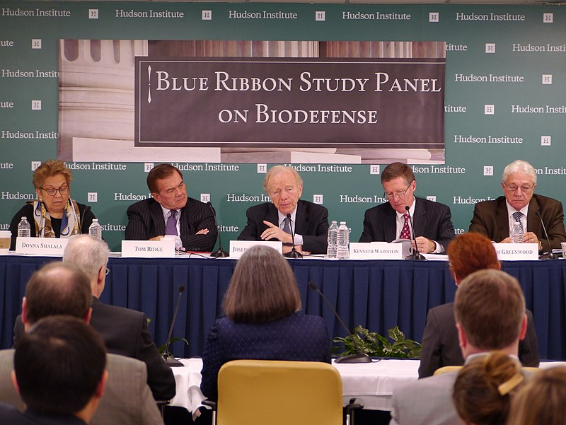 Shalala, Ridge, Lieberman, Wainstein, Greenwood at the Blue Ribbon Study Panel on Biodefense.jpg
