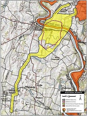 Battle of Shepherdstown - Map of Shepherdstown Battlefield core and study areas by the American Battlefield Protection Program.