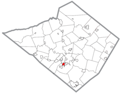 Location of Shillington in Berks County, Pennsylvania.