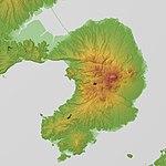 Shimabara Peninsula Relief Map, SRTM-1.jpg