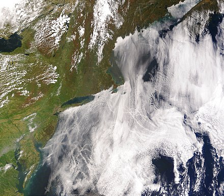 Ship tracks can be seen as lines in these clouds over the Atlantic Ocean on the East Coast of the United States as an effect of aerosols. ShipTracks MODIS 2005may11.jpg