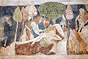 Siedlęcin Wieża Książęca Gotyckie malowidła ścienne Sen Lancelota pod jabłonią.JPG