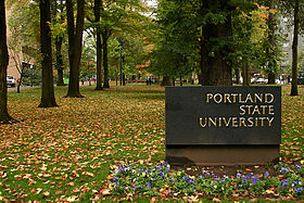 Sign at entry to Portland State University (2004).jpg