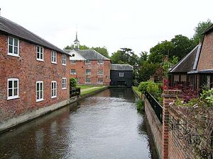 Whitchurch, Hampshire - Looking from the town along the River Test towards the Whitchurch Silk Mill
