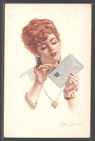 Love letter - Image: Simonetti Rothaarige Frau öffnet gespannt den Liebesbrief