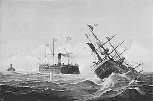 Italian ironclad Re d'Italia - An illustration of Re d'Italia rolling over after having been rammed by Erzherzog Ferdinand Max