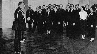 Felicjan Sławoj Składkowski - Prime Minister Składkowski addressing Chancellery employees upon his nomination, May 1936