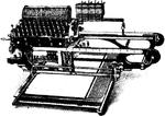 Skrifmaskin, Elliot-Fishers maskin för skrifning i bok, Nordisk familjebok.png