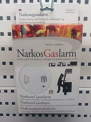 Sleeping gas - Picture of a sleeping gas alarm on sale in Finland.