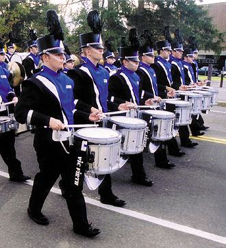 University of New Hampshire Wildcat Marching Band - 2002-2003 WMB snareline during the traditional pregame march to Cowell Stadium