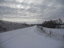 Snow on road, Clayton County, Iowa.JPG