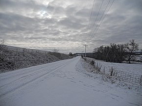 Snow on road, Clayton County, Iowa.JPG