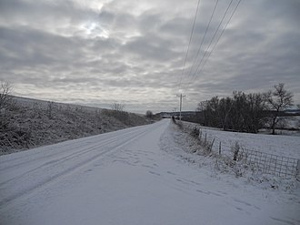 Clayton County, Iowa - Image: Snow on road, Clayton County, Iowa
