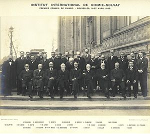 Svante Arrhenius - Arrhenius at the first Solvay conference on chemistry in 1922 in Brussels.