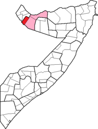 Location of Gabiley District within the Woqooyi Galbeed region.