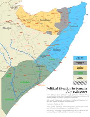 Somali Civil War (2009–present) - Situation of the war in Somalia back in mid-July 2009.