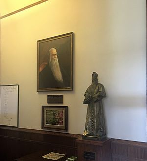 Sorin Hall (University of Notre Dame) - The statue and portrait of Fr. Sorin at the Entrance