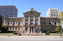 The Courthouse in downtown South Bend. The County-city building is visible in the background.