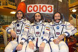 v.l.n.r.: Anatoli Iwanischin, Anton Schkaplerow und Daniel Burbank