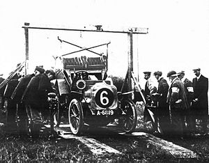 1905 International Tourist Trophy - The chassis of a Speedwell car being weighed prior to the race.