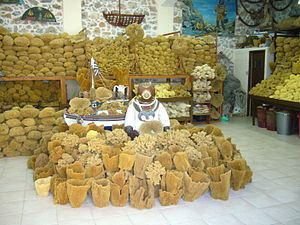 Sponge diving - Display of natural sponges for sale on Kalymnos in Greece