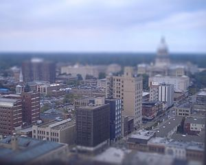 Springfield, Illinois - An image of Downtown Springfield with a view of the State capitol