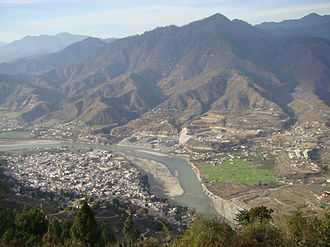 Srinagar, Uttarakhand - Srinagar from southern hill