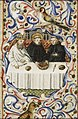 St. Martin, Bishop of Tours, at table with the Emperor Maximus - Book of hours Simon de Varie - KB 74 G37 - 080r randfig 2.jpg