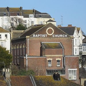 St Leonard's Baptist Church, St Leonards-on-Sea - The rear elevation, seen from the west, also shows the arched windows in the side walls.
