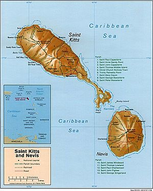 English: map of St. Kitts and Nevis, Caribbean