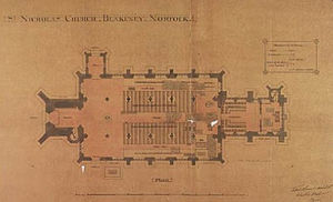 St Nicholas, Blakeney - 1887 groundplan for the late-19th-century restoration work