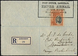 """First flight cover - Registered first flight cover Imperial Airways Empire Airmail service from Zanzibar to Kenya on 1 July 1927 with stamp cancelled by cachet/postmark that includes the phrase """"First Flight Cover"""""""