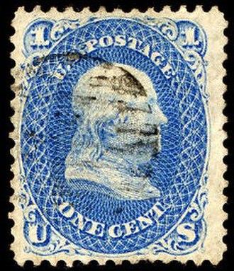 Z Grill - Image: Stamp US 1868 1c Z grill Miller