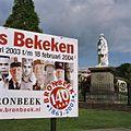 """Standbeeld Willem II, linkerzijaanzicht met bord over tentoonstelling """"Museum Bronbeek 140 jaar"""" - Arnhem - 20362373 - RCE.jpg"""
