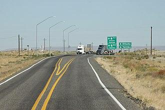 Washington State Route 240 - SR 240 westbound at its terminus with SR24 on the Hanford Nuclear Reservation