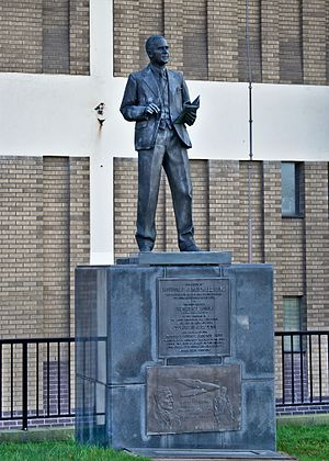 R. J. Mitchell - Statue of R. J. Mitchell in Hanley town centre against the Potteries Museum