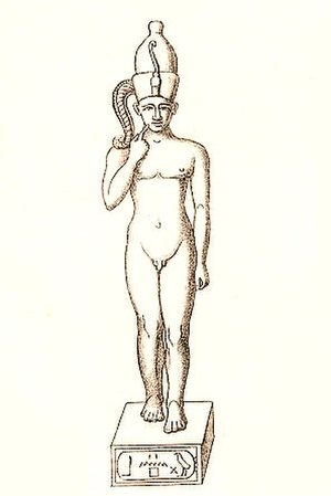 Nebiriau II - Statuette of Harpocrates from the Ptolemaic period, believed to bear the throne name of Nebiriau II