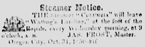Columbia (sidewheeler 1850) - Image: Steamboat Columbia ad 1851