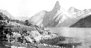 Stetind - Stetind seen from Stefjordneset. Picture by William Cecil Slingsby, 1915.