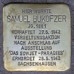 Photo of Samuel Bukofzer brass plaque