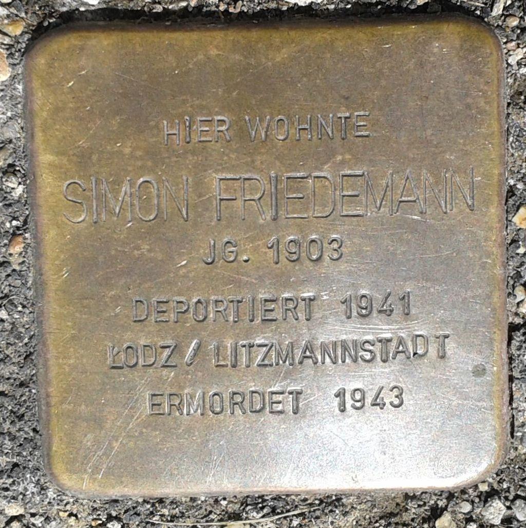 Stolperstein Hachenburg Rheinstraße 26 Simon Friedemann