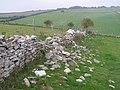 Stone wall in disrepair, north of the Hellstone - geograph.org.uk - 242749.jpg