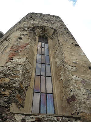 Strečno Castle - Gothic window of the chapel on the eastern facade