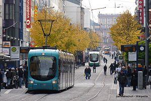 Trams in Mannheim/Ludwigshafen - Image: Streetcar Straßenbahn Tram Mannheim RNV Rhein Neckar Verbund 19