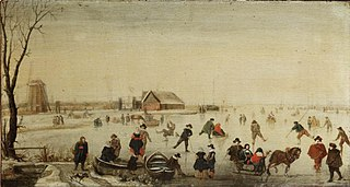 Winter Scene with Skaters and Sledges on the Ice