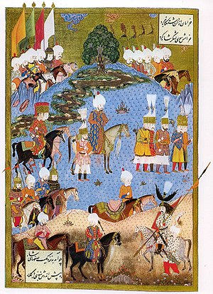 Nakhchivan Autonomous Republic - A miniature depicting Ottoman Sultan Suleiman the Magnificent marching into Nakhchivan during the continuous border wars between the Ottoman Empire and Safavid Persia (14th to 18th century).