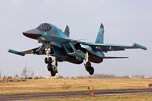 "Khibiny (electronic countermeasures system) - Su-34 with ECM modules ""Khibiny"" on the wing tips"
