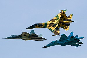 Sukhoi Su-35S, Su-34 and T-50 flying together.jpg