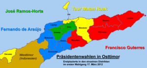 East Timorese presidential election, 2012 - Candidates' majority in districts (first round)